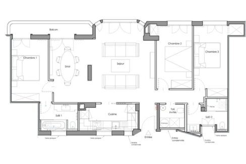 Luxurious Renovated Apartment Carré d'Or Monaco Floor Plan