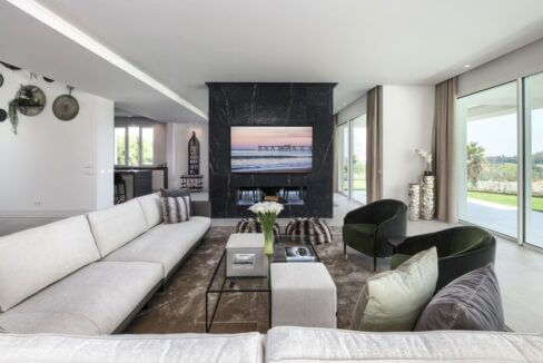 5 bedroom golf and sea view villa in El Paraiso Estepona fireplace view